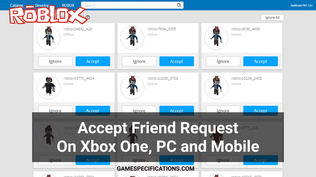 accept friend request on roblox