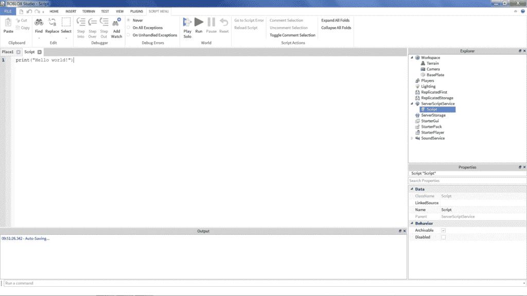 Roblox Lua Programming Hello World