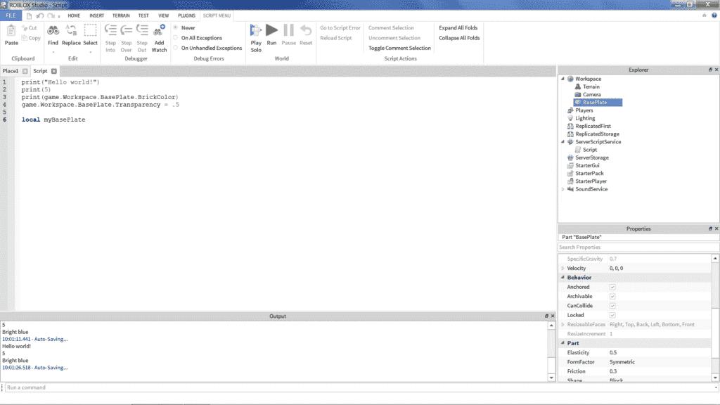 Roblox Lua Programming Scripts