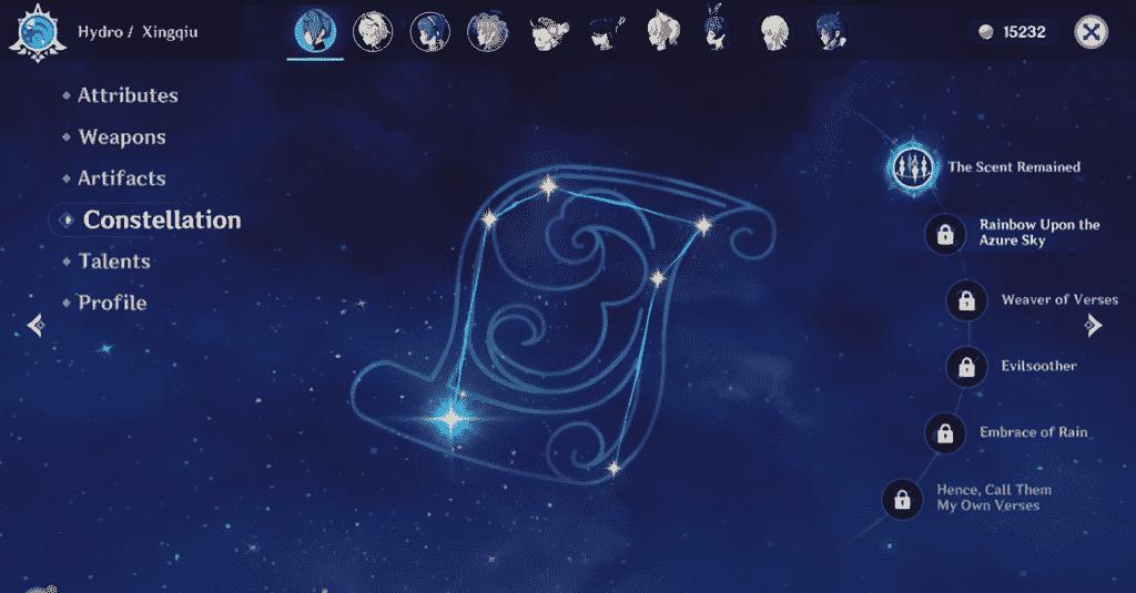 Genshin Impact Xingqiu Constellations