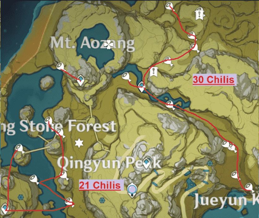 Genshin Impact Qingyun Peak Map