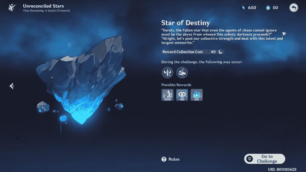 Star of Destiny Quest Genshin Impact Rewards