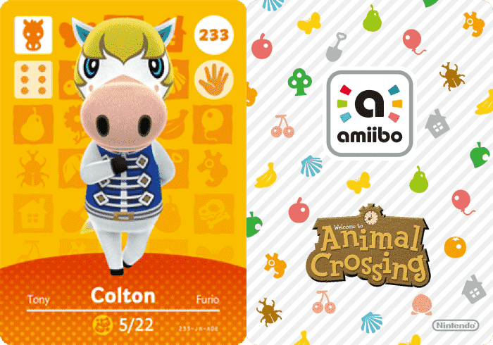 Colton amiibo Card in Animal Crossing