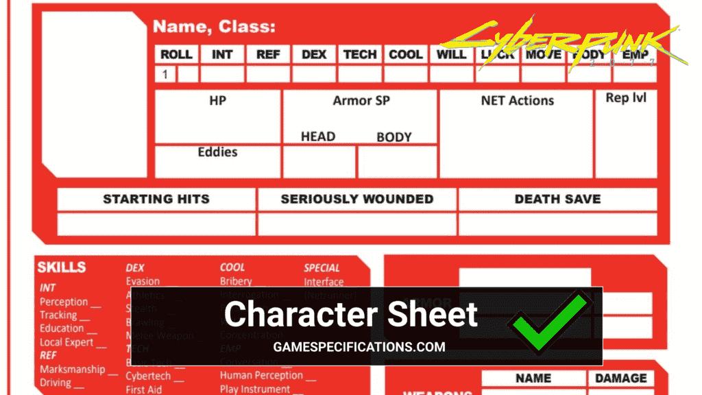 Cyberpunk 2020 Character Sheet