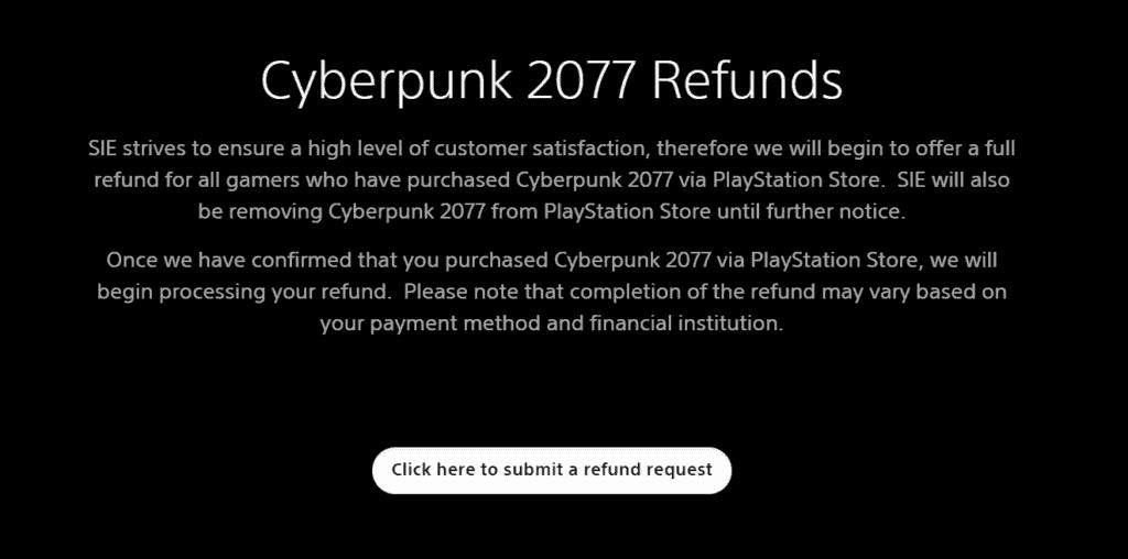 Cyberpunk 2077 Refunds Playstation