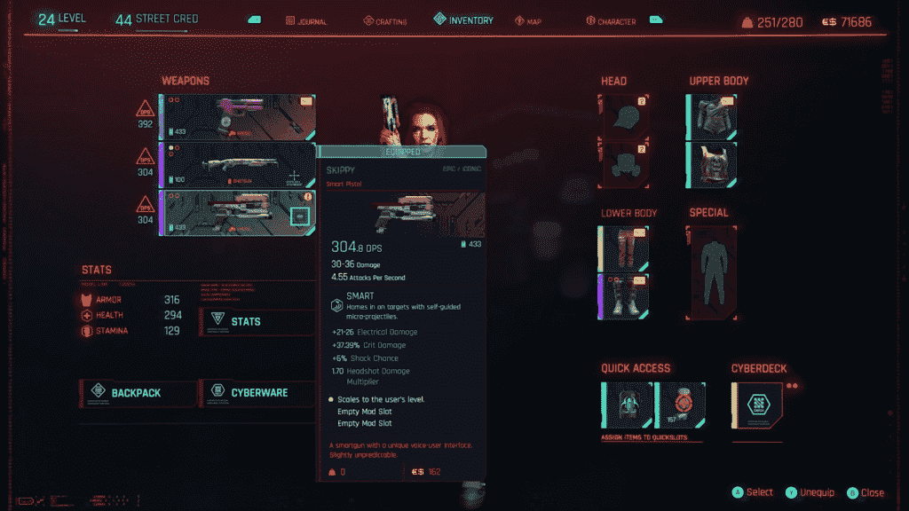 Cyberpunk Skippy Detailed Statistics