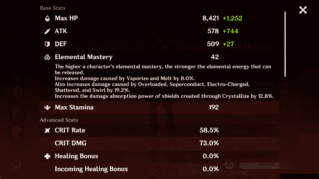 Genshin Impact Diluc Base Stats