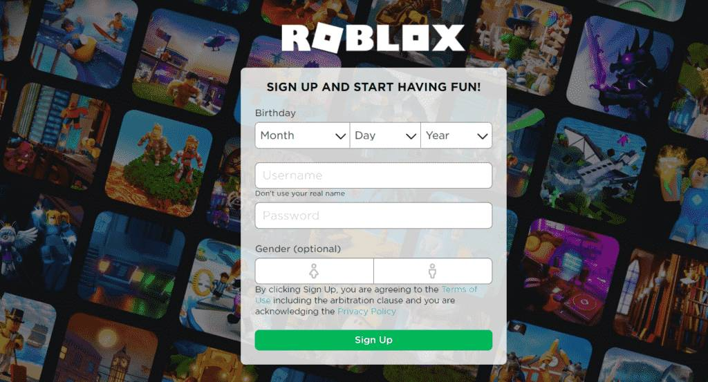 Create new account Roblox