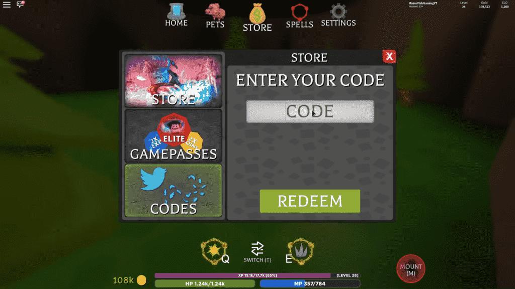 Redeem Roblox Wizard Simulator Codes