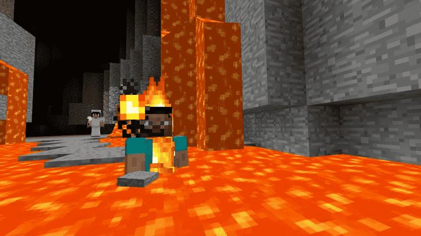 Swimming in lava Minecraft