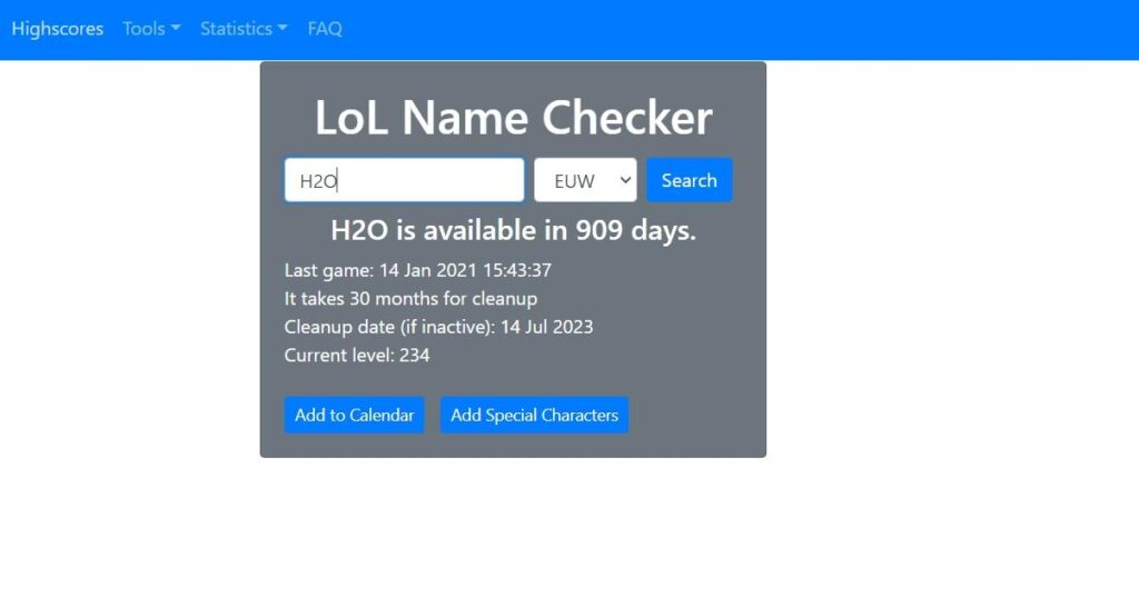 League of Legends Name Checker Interface