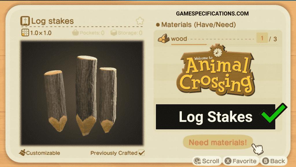 Log Stakes in Animal Crossing
