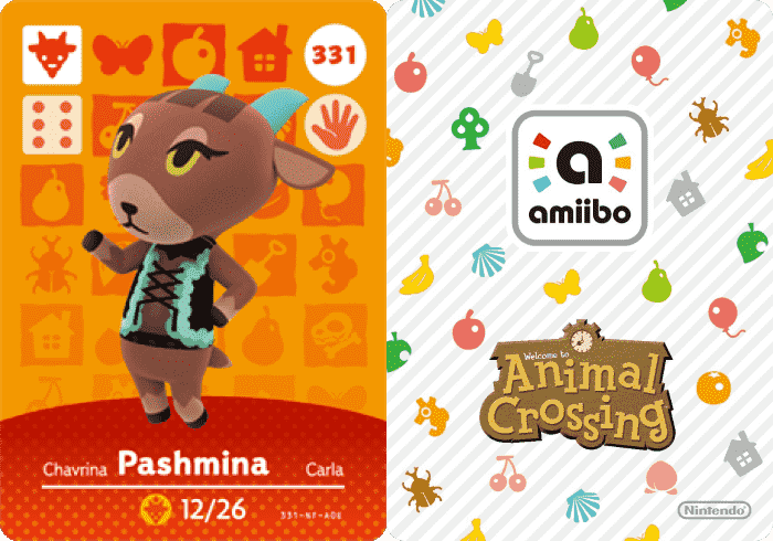Pashmina Animal Crossing Amiibo Cards