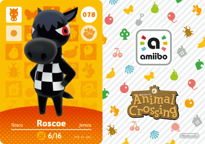 Roscoe Animal Crossing -  Amiibo Card