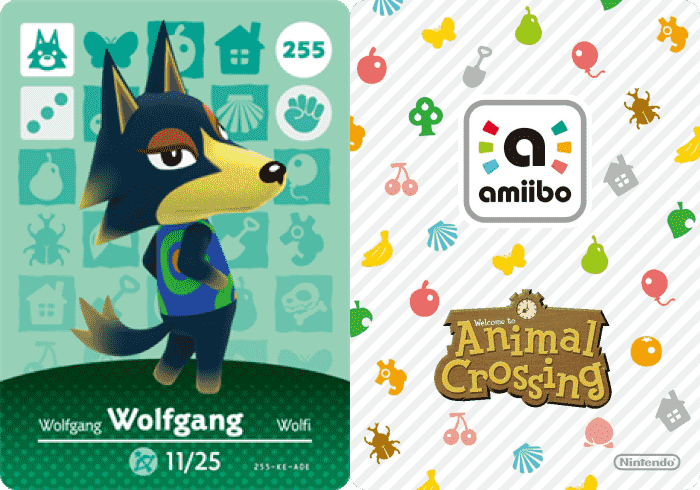 Wolfgang Animal Crossing - amiibo Card