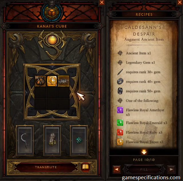 Requirements for Augmenting Ancient Items