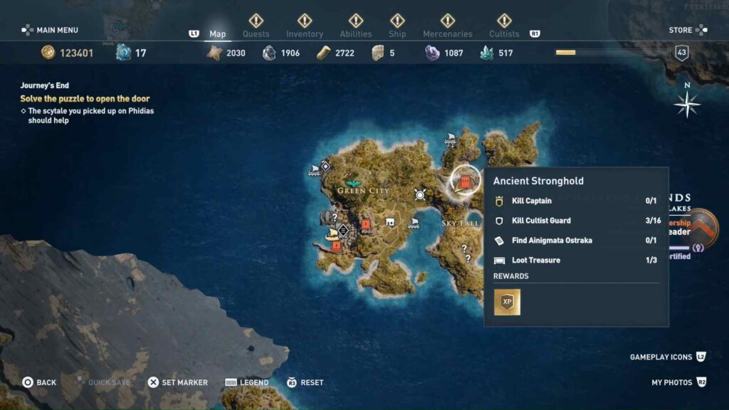 assassin's creed odyssey ancient stronghold location