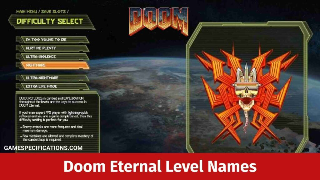 Doom Eternal Level Names View