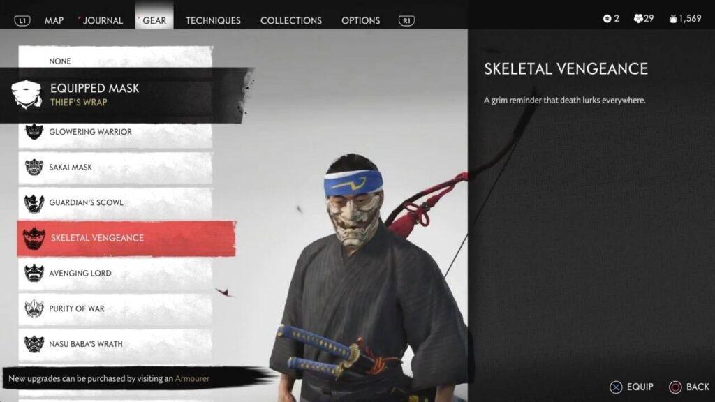 Ghost of Tsushima Skeletal Vengeance Mask