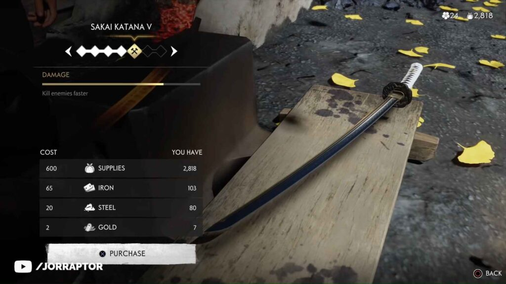 Ghost of Tsushima Weapons Upgrades