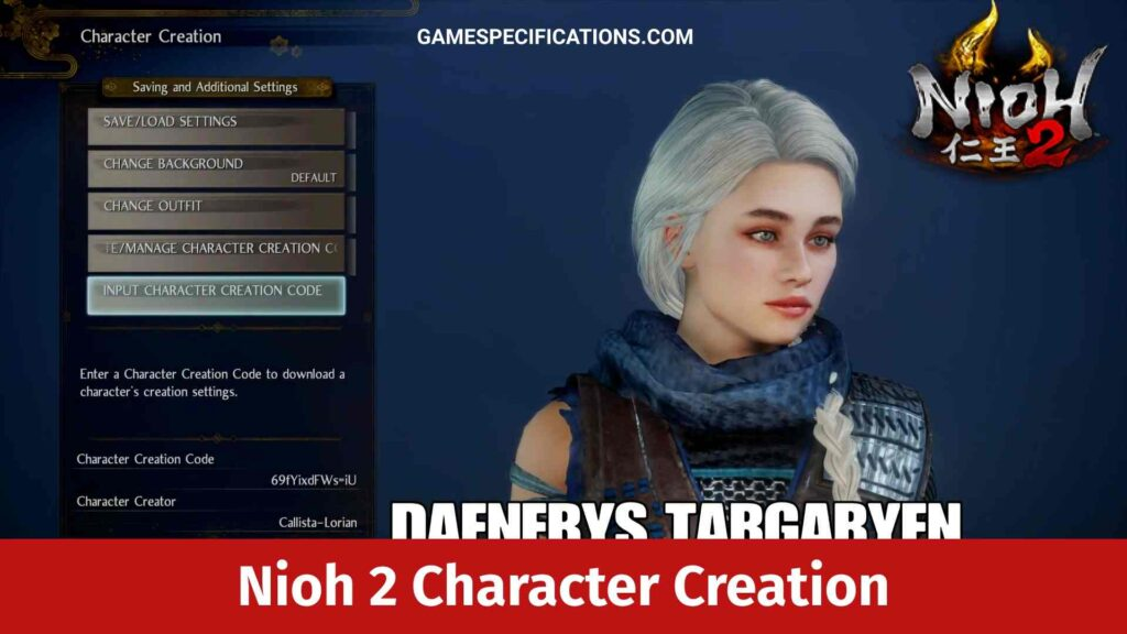 Nioh 2 Character Creation