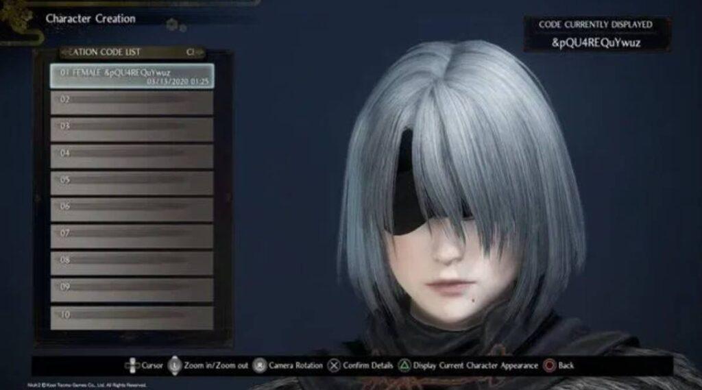 Nioh 2 Character Creation 2B Codes