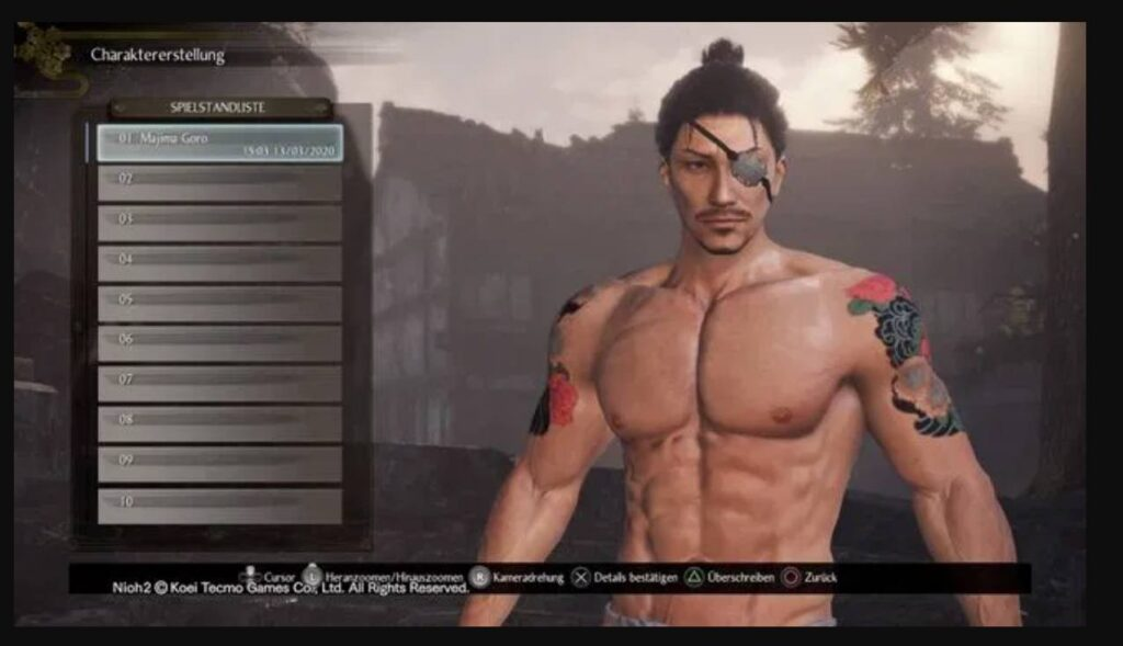 Nioh 2 Character Creation Goro Majima Codes