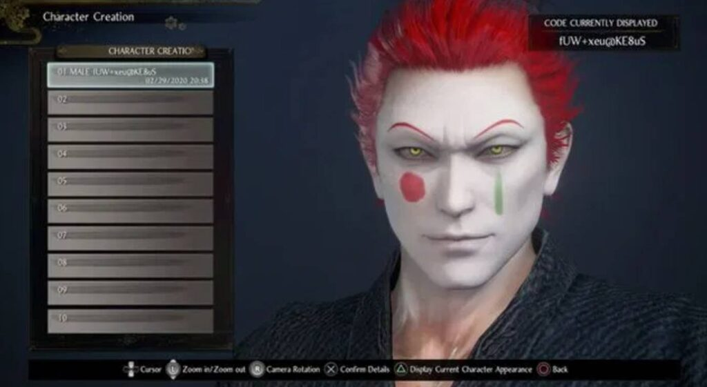 Nioh 2 Character Creation Hisoka Morow Codes
