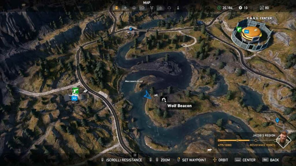 Far Cry 5 Wolf Beacon Middle of Moccasin River