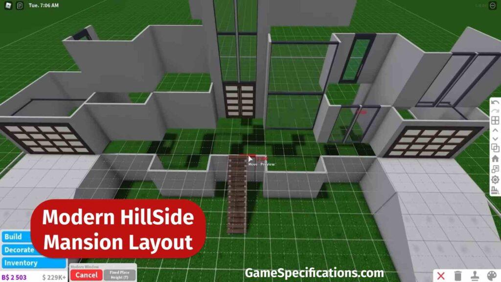 Modern Hillside Mansion Layout Bloxburg