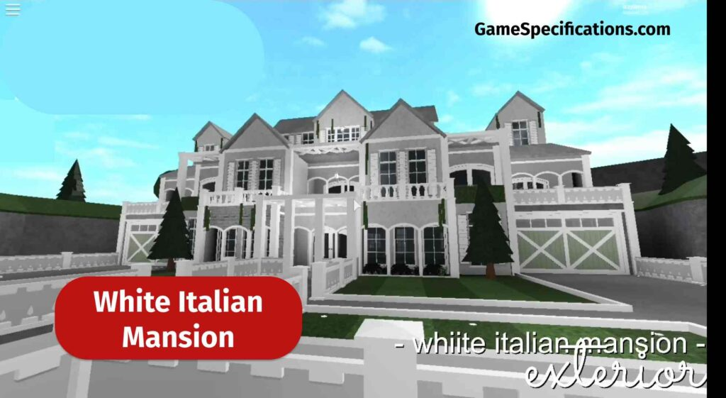 White Italian Mansion bloxburg