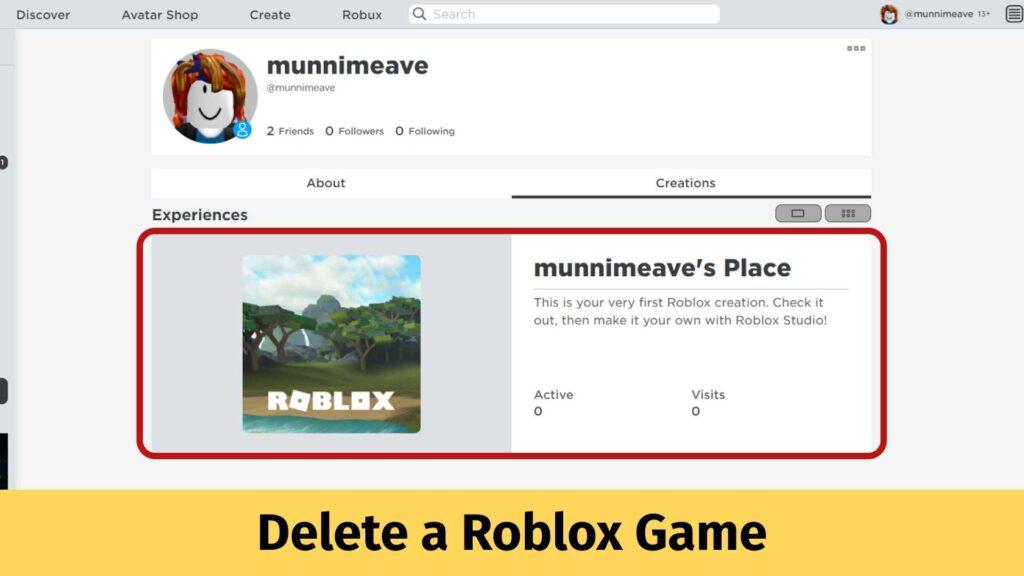 Delete a Roblox Game