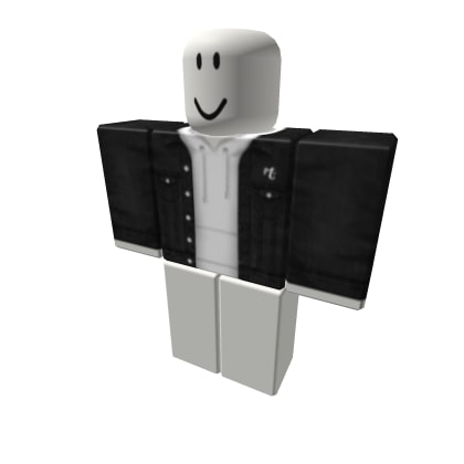 Black Denim Jacket With White Hoodies