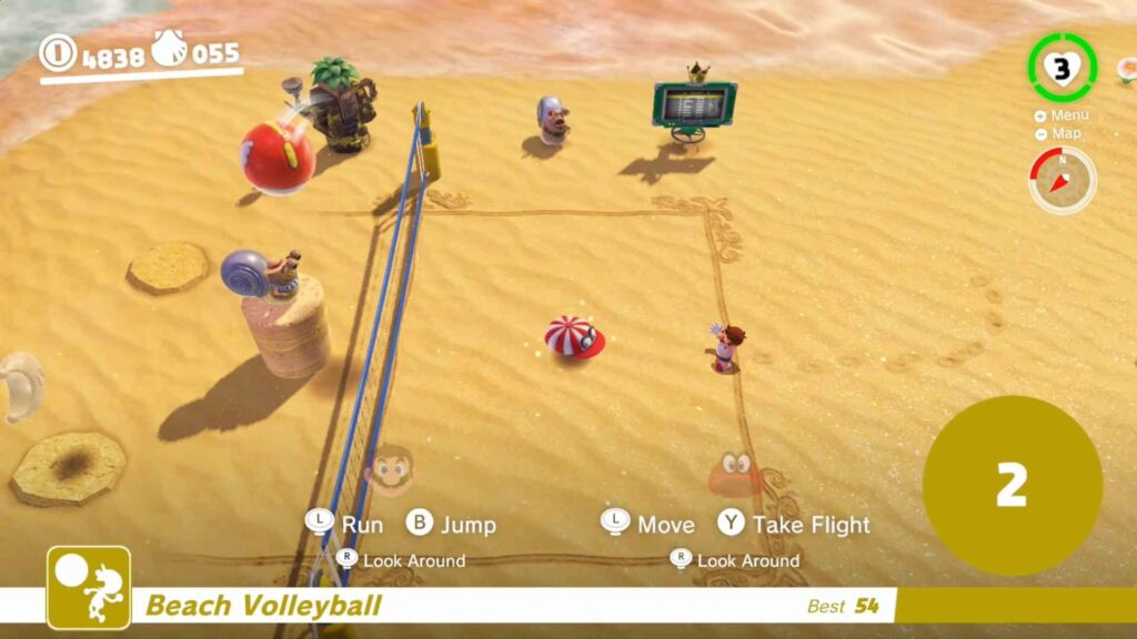 Mario Odyssey Using Cappy while playing Volleyball