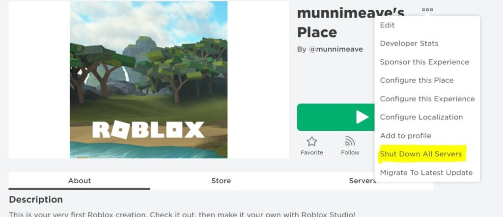 Shutting Down the Servers of a Roblox game