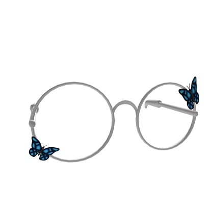 Silver Glasses With White Butterflies