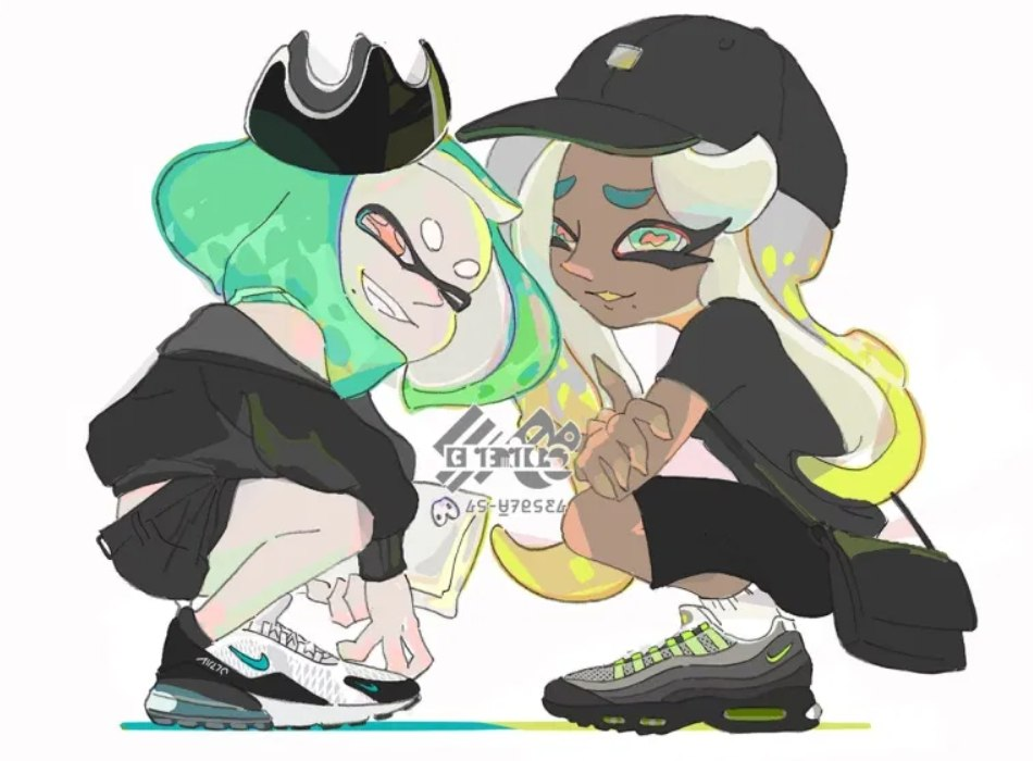 Splatfest Art Shows Pearl And Marina Wearing Nike